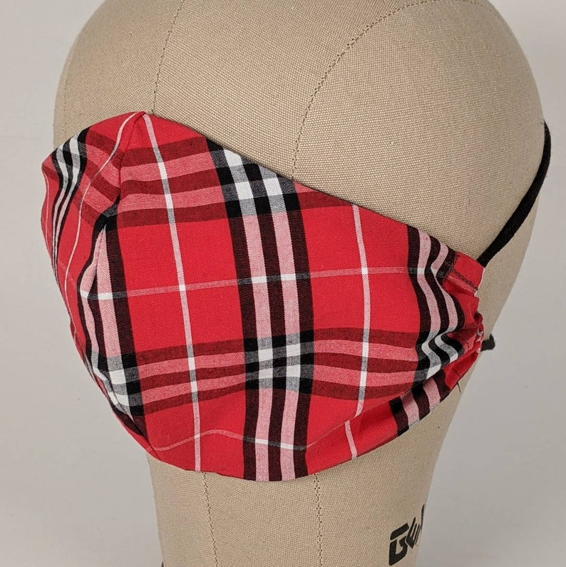 Red black and white plaid mask image 0