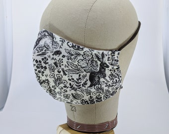 Bunny and squirrel woodcut mask