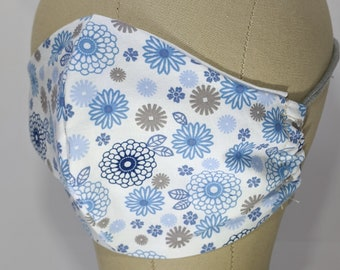 Sweet blue and gray 70s looking flower mask