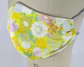 Very beautiful floral mask, yellows, lavender, gray, greens