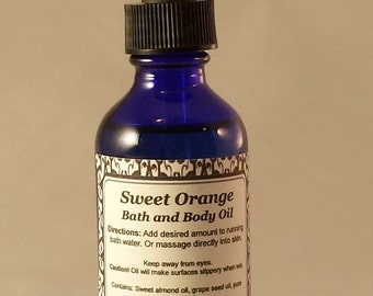 Bath Oil, Body Oil, Massage Oil, Sweet Orange, Essential Oils, Natural Skin Care, Aromatherapy, Handcrafted, Mystic Creations