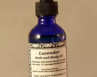 Bath Oil, Body Oil, Massage Oil, Lavender, Essential Oils, Natural Skin Care, Aromatherapy, Handcrafted, Mystic Creations