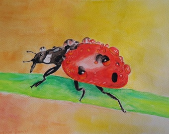 Ladybird with Raindrops - Original Watercolour Painting on Watercolour Paper - A4 - Nature - Insects - Animals - Wildlife
