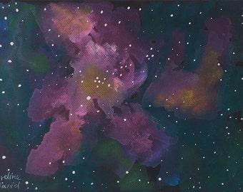 "Orion Nebula - Original Acrylic Painting on Box canvas - 6""x8.3"" - Space Painting"