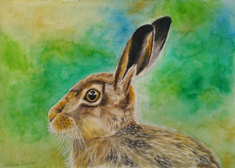 Hare  Original Watercolour Painting on Watercolour Paper  A4 image 0