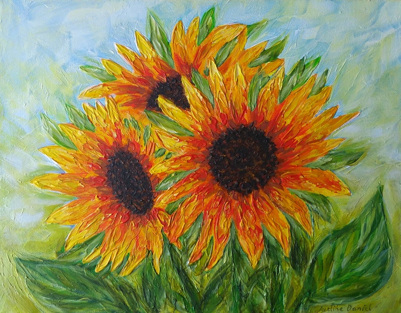 Sunflowers  Palette Knife  Original Acrylic Painting on Box image 0