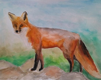 "Fox - Original Watercolour Painting - Animals - Nature - 8.27""x11.26"""