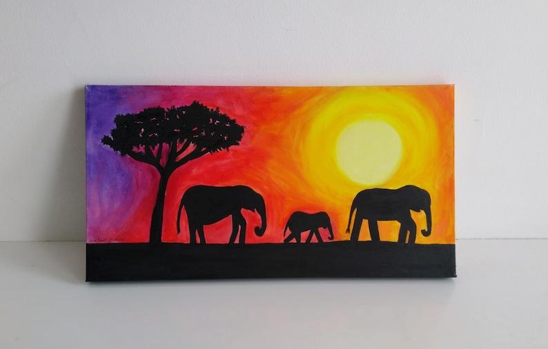 Colourful Elephant Silhouettes  Original Acrylic Painting on image 0