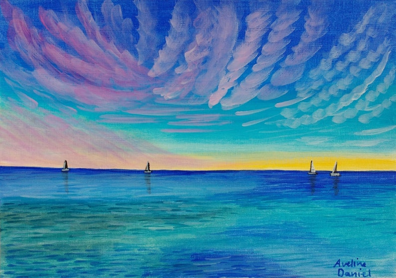 Boats on the Sea  Original Acrylic Painting on Acrylic Paper image 0