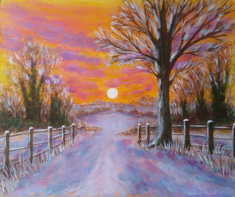 Orange Sky Winter Sunset  Original Acrylic Painting on a Flat image 0