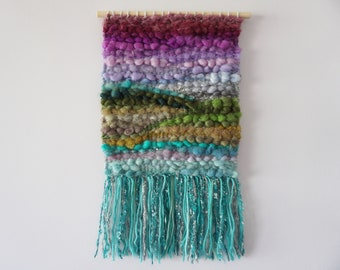 """Hand Made Woven Wool Tapestry - Colourful Abstract Landscape - 10.5""""x19.5"""" - Wall Hangings - Textiles - Bohemian Decor - Fibre Art"""