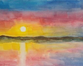 Lake Sunset - Original Watercolour Painting - Landscape - Nature - A4