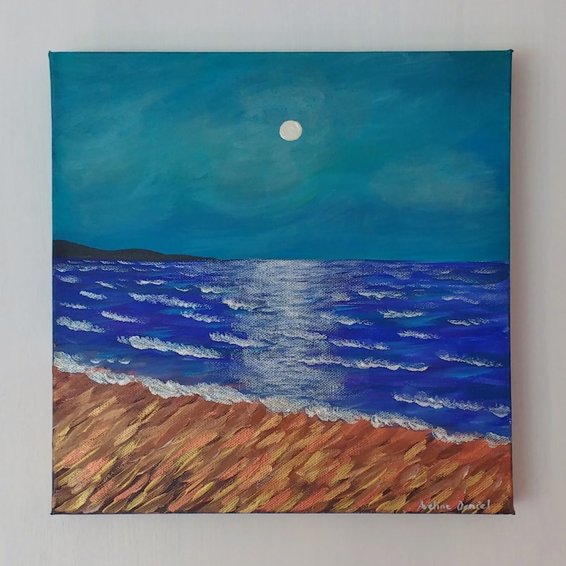 Seascape Moon Reflection  Original Acrylic Painting on Box image 0