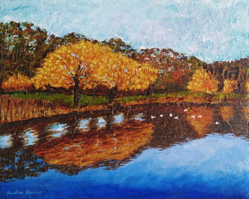Autumn Trees Lake Reflection  Palette Knife  Original image 0