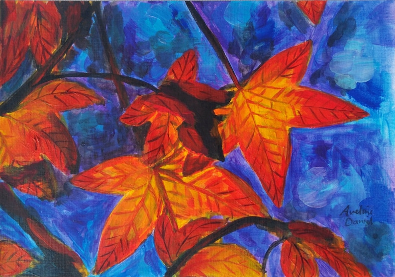 Red Leaves  Original Acrylic Painting on Acrylic Paper  A5  image 0