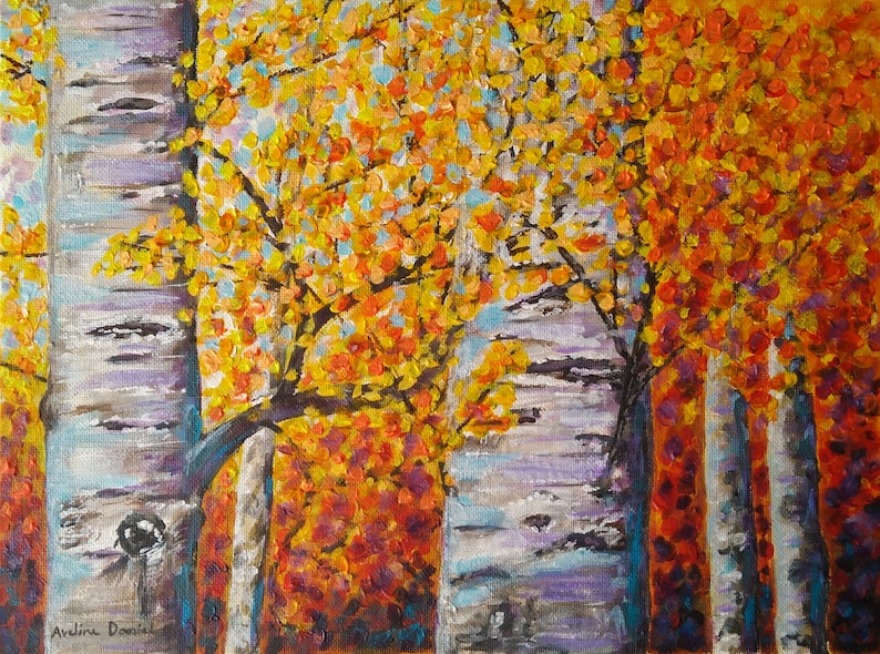 Autumn Silver Birches  Original Acrylic Painting on Canvas image 0