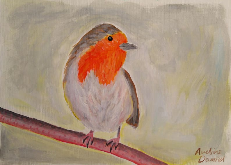 Robin on a Branch  Original Acrylic Painting on Acrylic Paper image 0