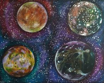 "Jupiter's Moons; Io, Europa, Ganymede and Callisto - Original Acrylic Painting on Box Canvas - 14""x18"" - Fantasy Space Painting"