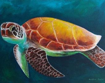 "Turtle - Original Acrylic Painting on Canvas Panel - Animals - Nature - 12""x16"""