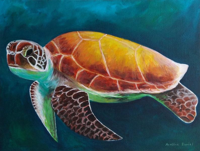 Turtle  Original Acrylic Painting on Canvas Panel  Animals  image 0