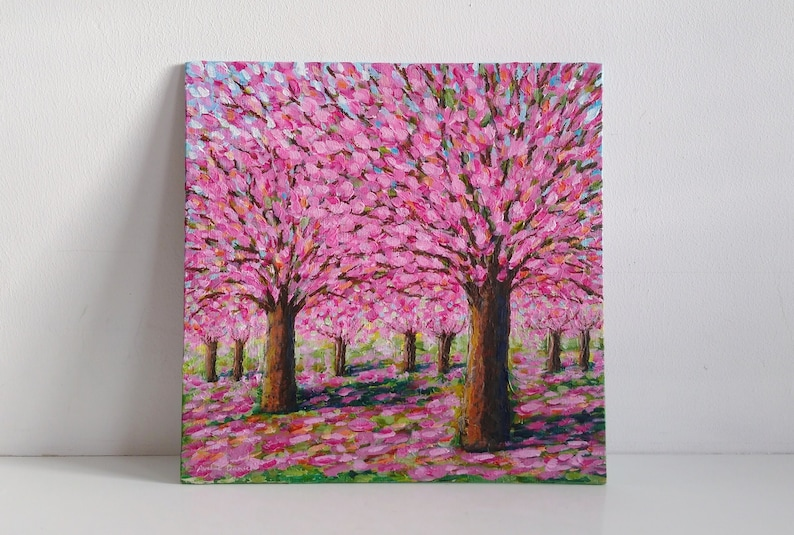 Cherry Trees Pink Blossoms  Original Acrylic Painting on image 0