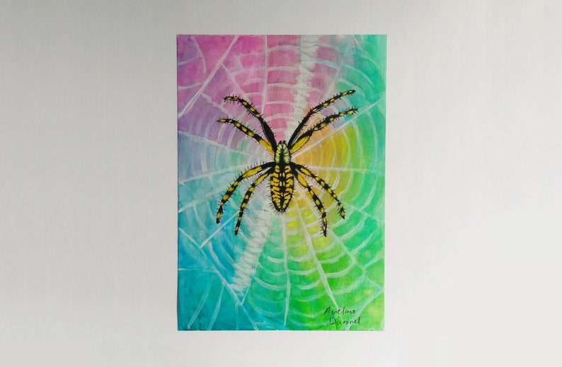 St Andrews Cross Spider  Original Acrylic Painting on Acrylic image 0
