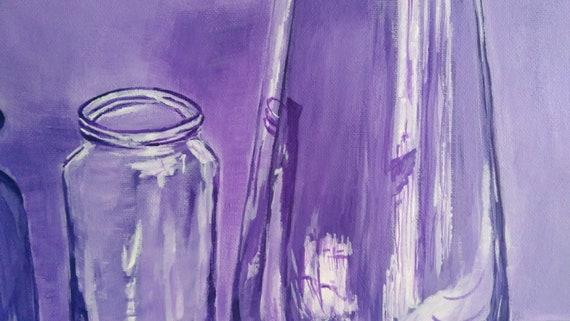 Purple Monochromatic Still Life Objects Original Acrylic Painting On Canvas Panel 14 X18