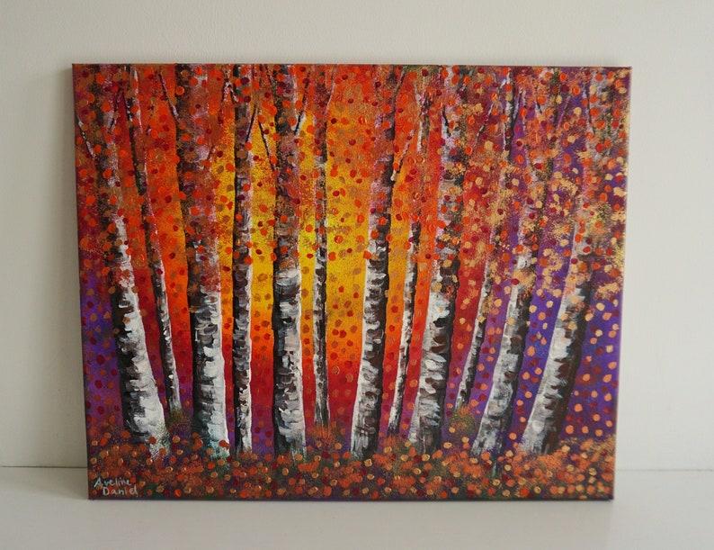 Autumn Silver Birches  Original Acrylic Painting on Box image 0