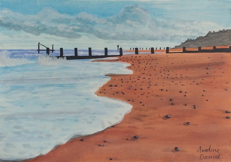 Seascape Beach with Pebbles Original Acrylic Painting on image 0