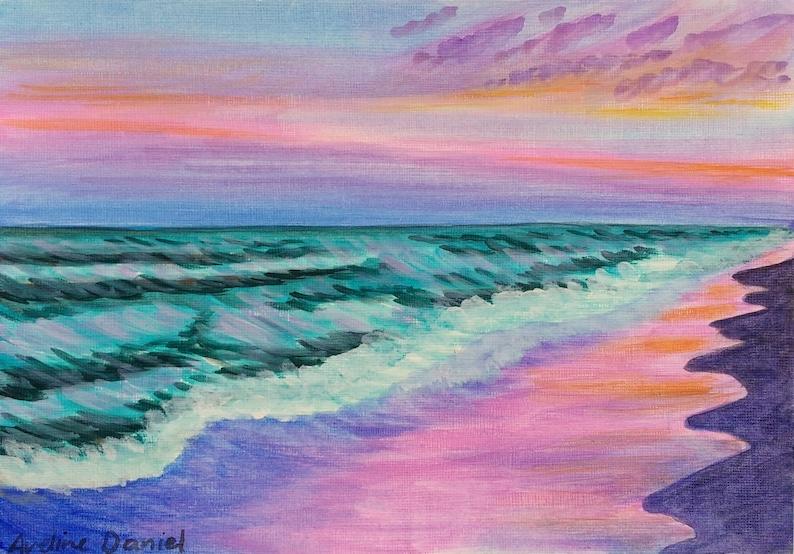 Pink Sunset Beach  Original Acrylic Painting on Acrylic Paper image 0