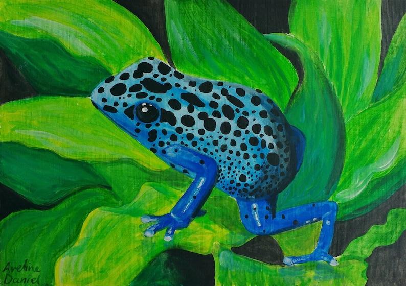 Blue Poison Dart Frog  Original Acrylic Painting on Acrylic image 0