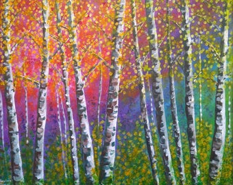 """Colourful Silver Birches - Original Acrylic Painting on Canvas - 16""""x20"""" - Nature - Abstract - Impressionism"""