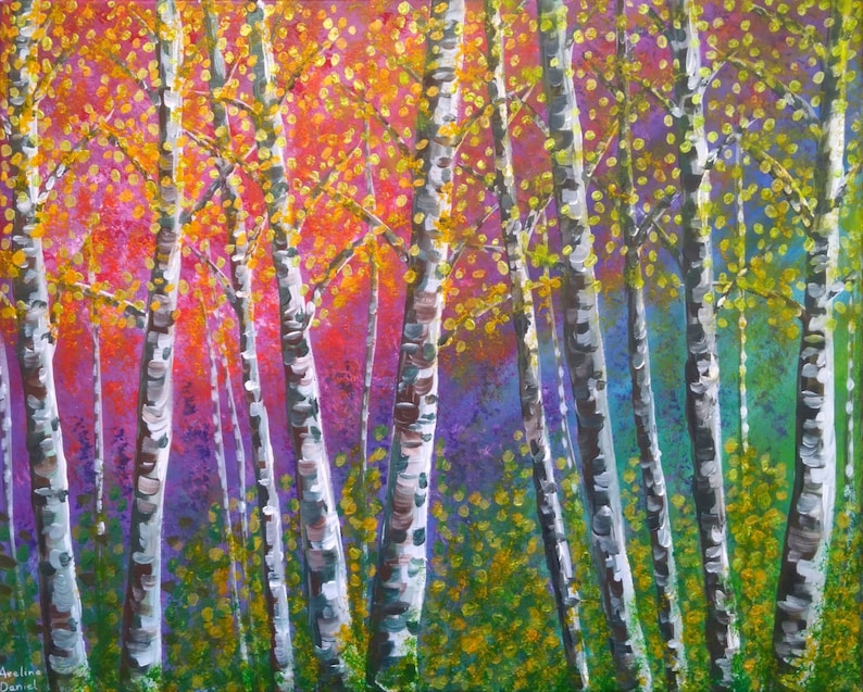 Colourful Silver Birches  Original Acrylic Painting on Canvas image 0