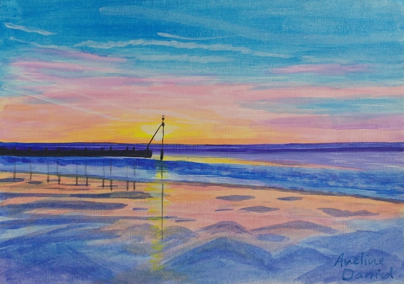 Seascape Beach Sunset  Original Acrylic Painting on Acrylic image 0