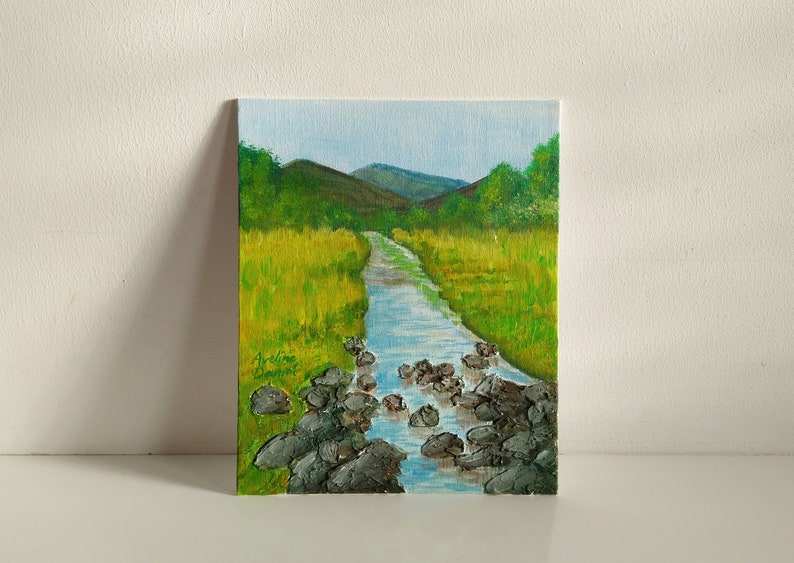 Rocky Textured River Scenery with Mountains  Original Acrylic image 0