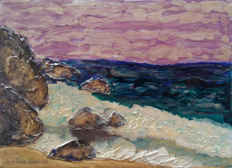 Beach with Textured Rocks  Abstract Art  Original Mixed image 0