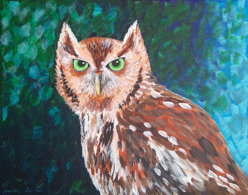 Red Eastern Screech Owl  Original Acrylic Painting on Canvas image 0