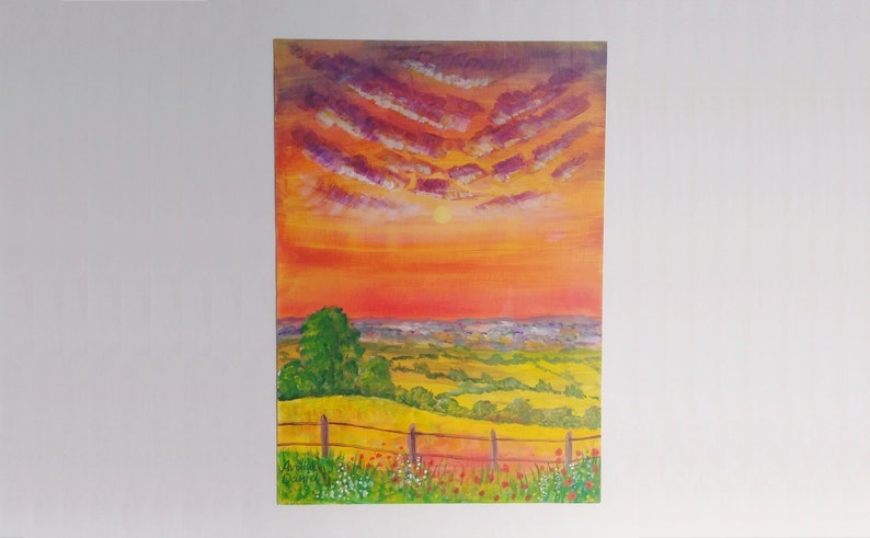 Sunset Hilltop View  Original Acrylic Painting on Acrylic image 0