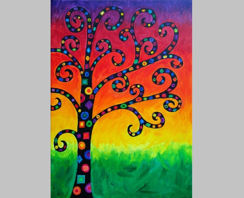 Colourful Stylised Tree  Acrylic Painting  Abstract  Nature image 0