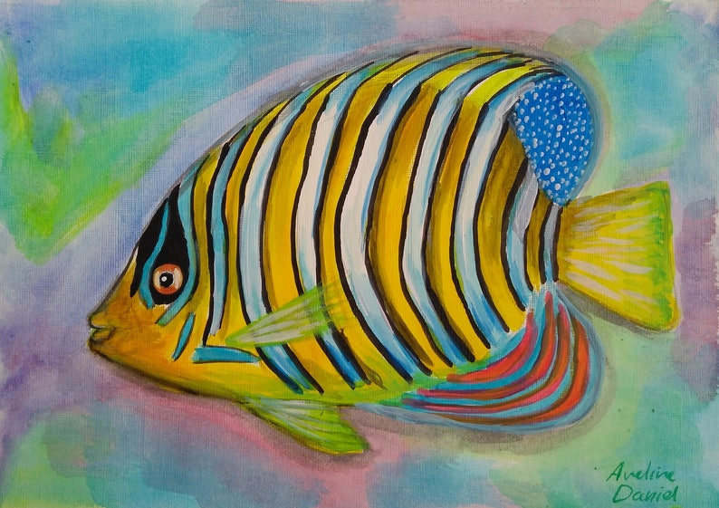Angelfish  Original Acrylic Painting on Acrylic Paper  A4 image 0