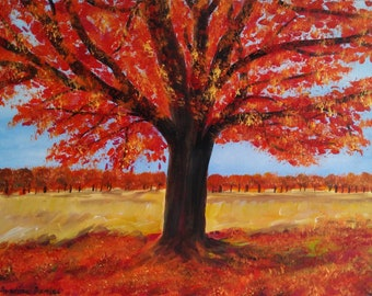"Autumn Tree - Richmond Park - Original Acrylic Painting on Canvas - 11""x14"" - Impressionist - Nature - Colourful"