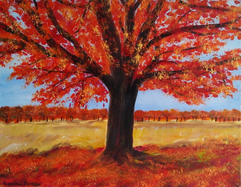 Autumn Tree  Richmond Park  Original Acrylic Painting on image 0