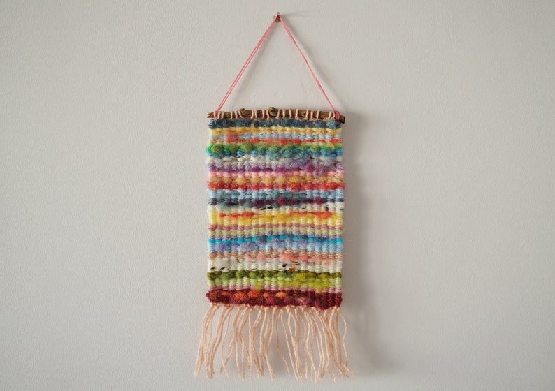 Hand Woven Wool Tapestry  Colourful Pastels  image 0