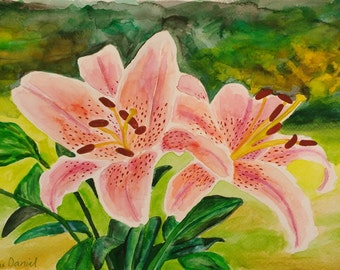 Spotted Tiger Lily - Original Watercolour Painting on Watercolour Paper - A4 - Flowers - Impressionist