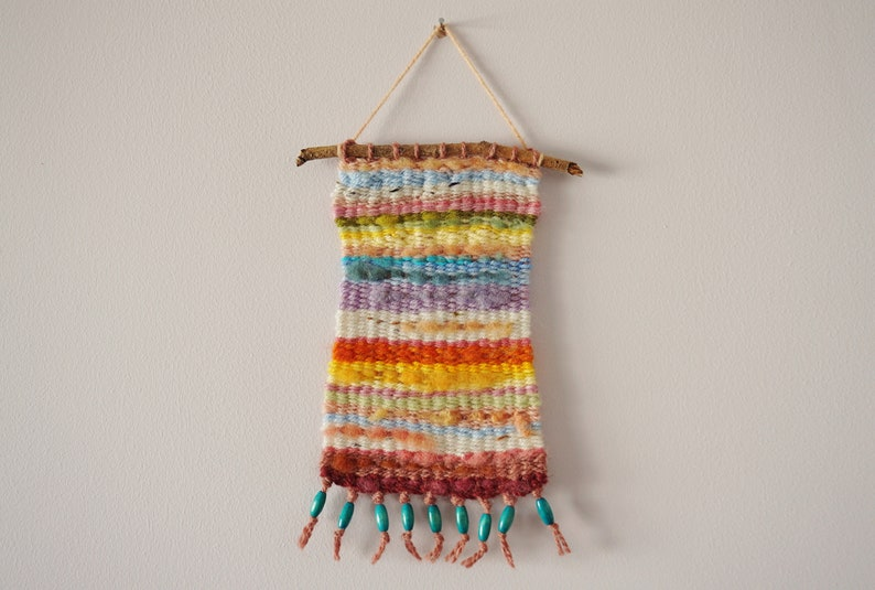 Hand Woven Wool Tapestry  Colourful Pastels  5x9 image 0