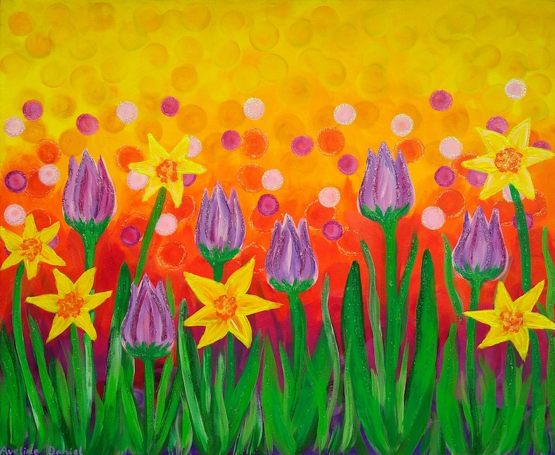 Tulips and Daffodils  Original Acrylic Painting on Box Canvas image 0