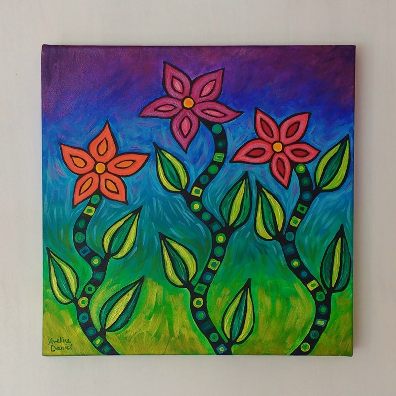 Abstract Stylised Colourful Flowers  Original Acrylic image 0