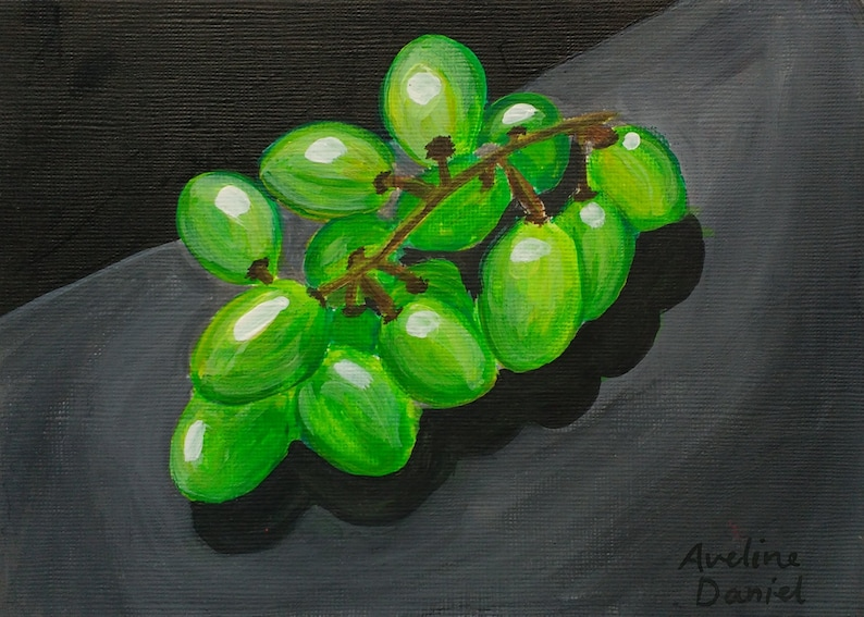 Green Grapes  Original Acrylic Painting on Acrylic Paper  image 0