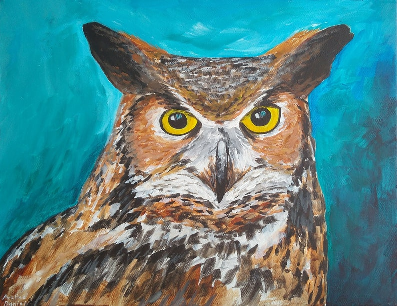 Great Horned Owl  Original Acrylic Painting on Box Canvas  image 0