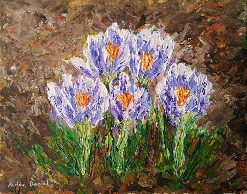 Crocus Flowers  Palette Knife  Original Acrylic Painting on image 0